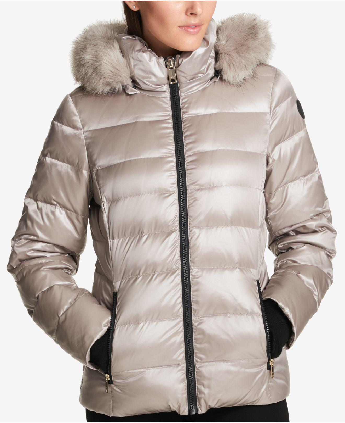 DKNY Faux-fur-trimmed Down Puffer Coat, Created For Macy's ...