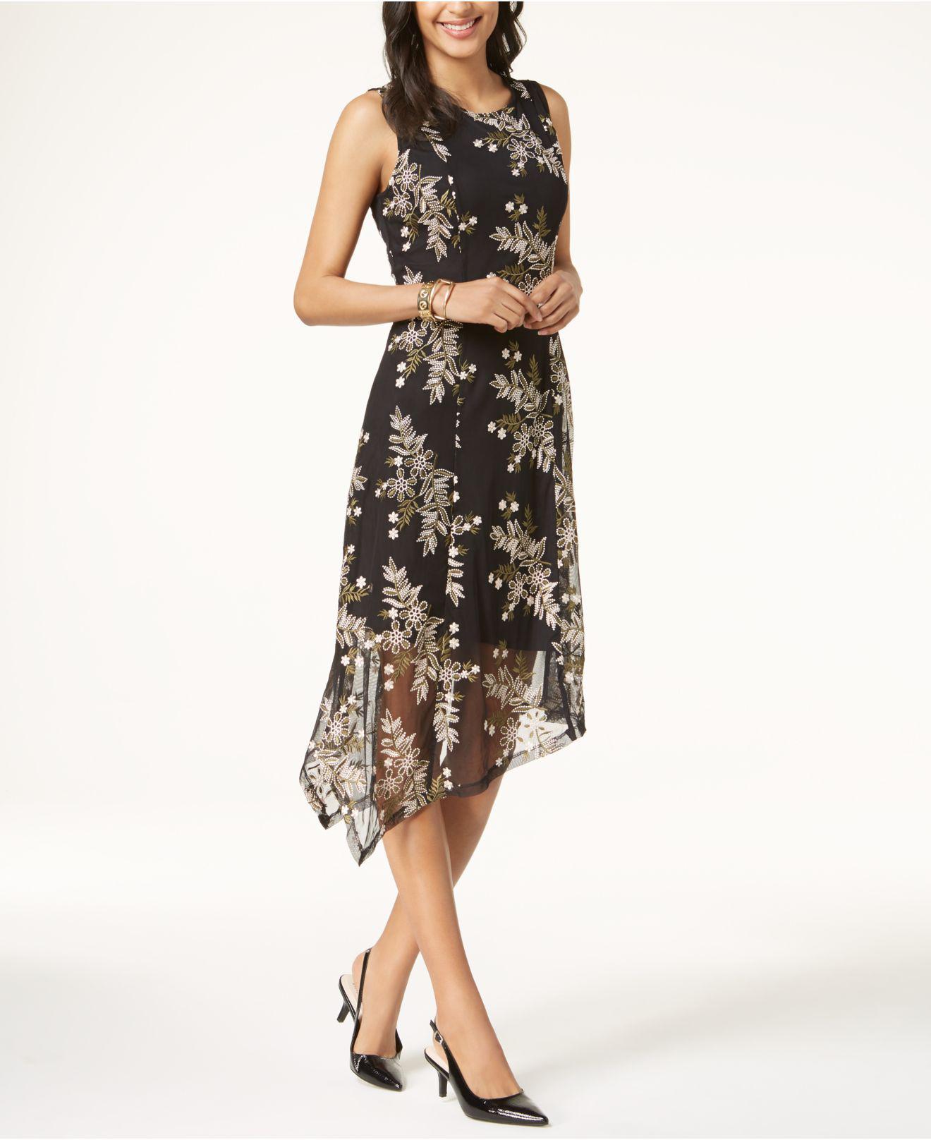 ef0e898d9d5 Lyst - Alfani Embroidered Handkerchief-hem Dress