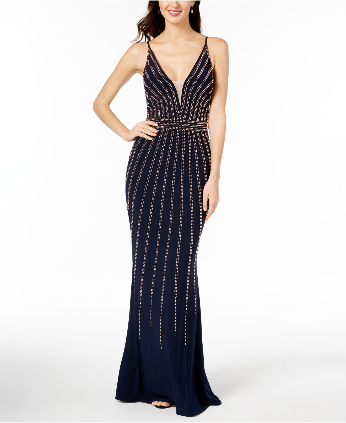 Lyst - Xscape Beaded V-neck Gown, Regular & Petite Sizes in Blue