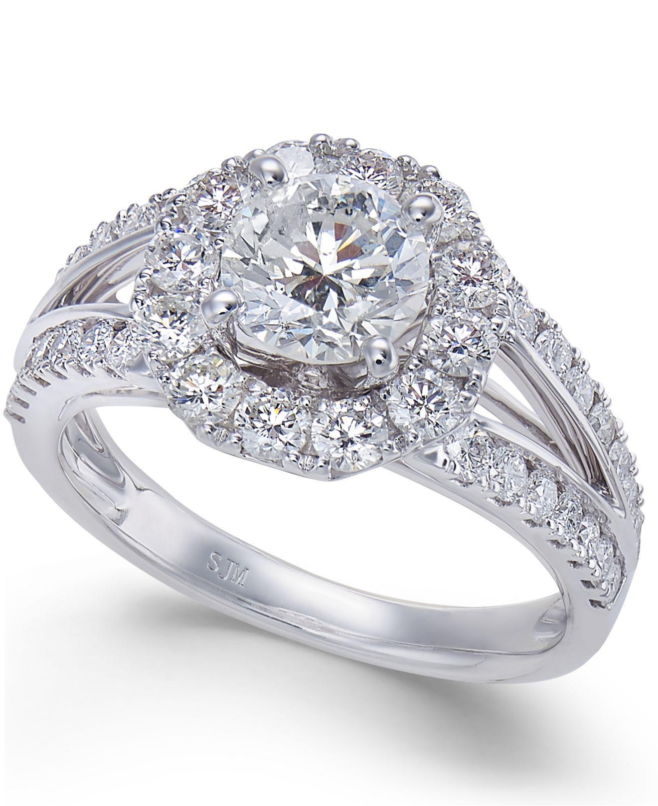 Macys Mens Wedding Rings: Macy's Diamond Halo Engagement Ring (2 Ct. T.w.) In 14k