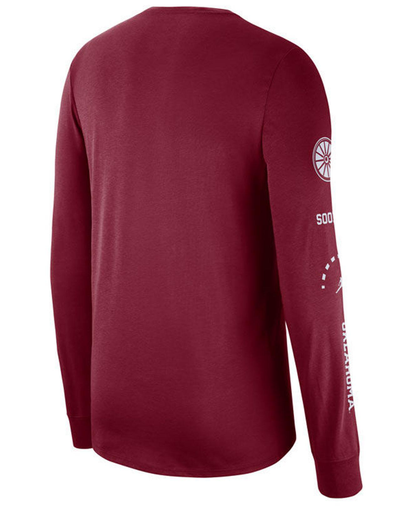 Nike Mens Oklahoma Sooners Just Do It Print Long Sleeve T-Shirt Black