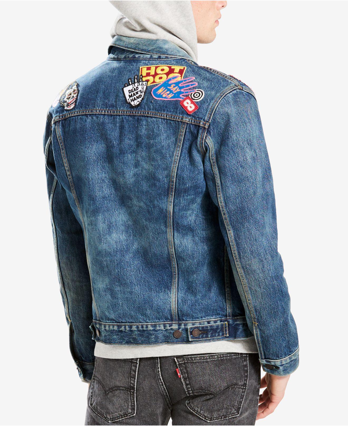 04fec94c739 Denim Jacket Levi's Embellished Lyst Trucker Blue Men's Patch In nxO1IzqZ4
