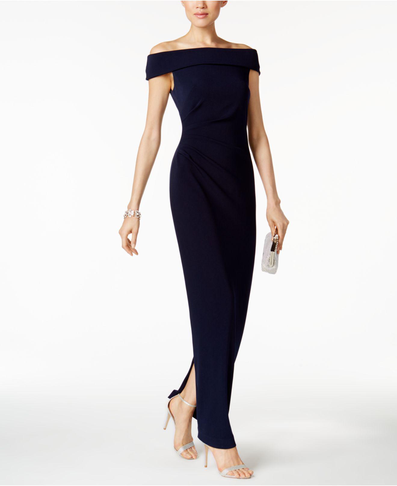 193007af136 Vince Camuto Jersey Off-the-shoulder Gown in Blue - Lyst