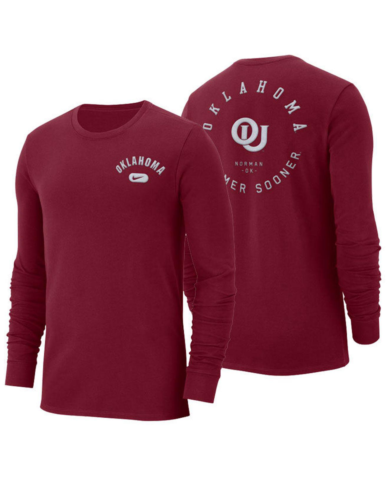 bd2b0d0d6e00 Lyst - Nike Oklahoma Sooners Retro Cotton Long Sleeve T-shirt in Red ...