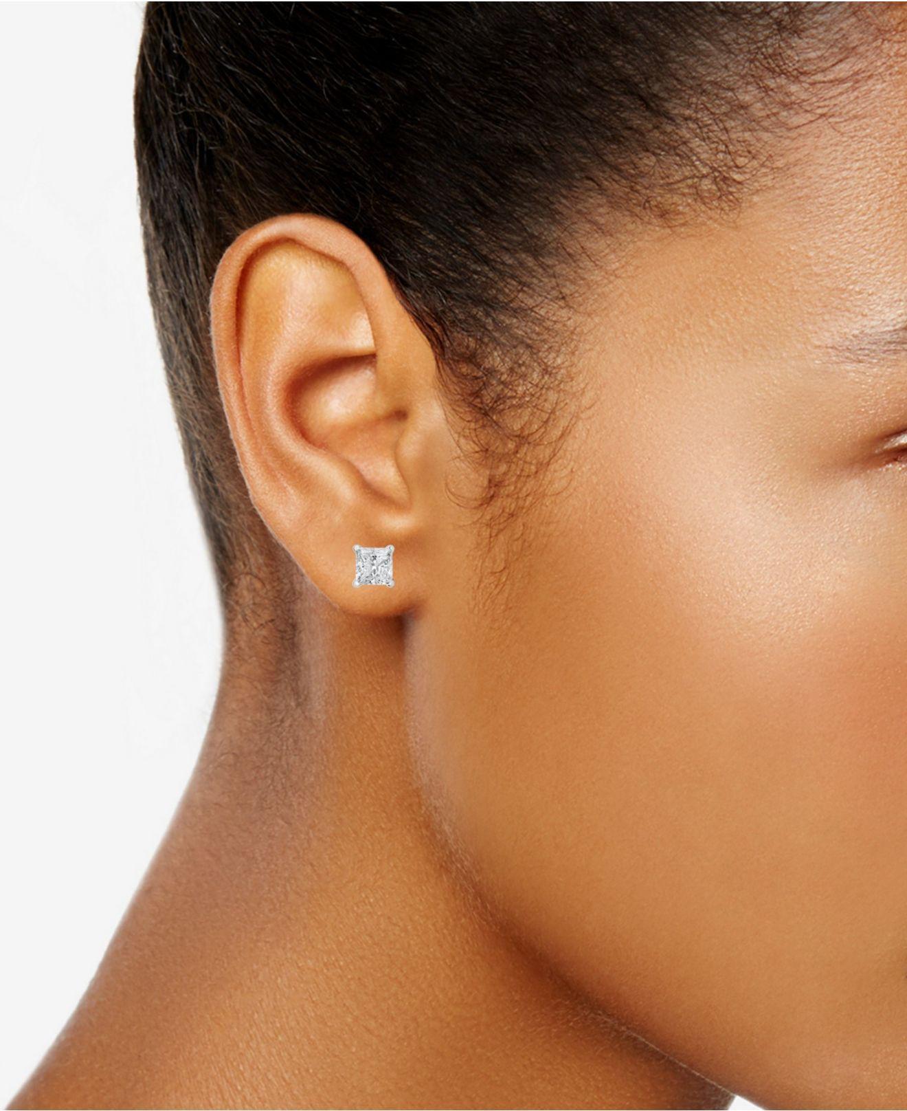 Certified Princess Cut Diamond Stud Earrings 1 Ct T W In 14k White Gold Or Yellow
