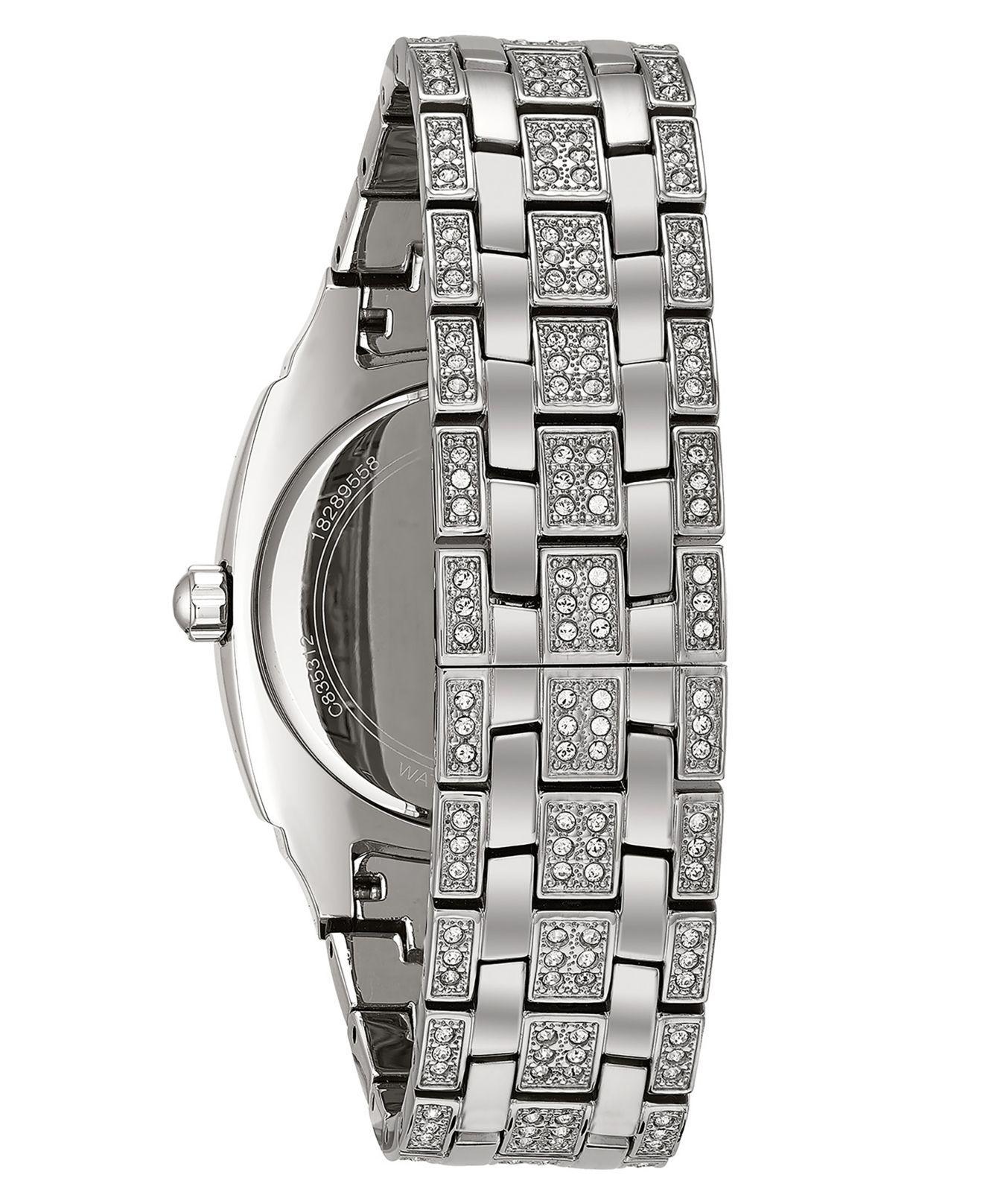 5c6d35e375afc Metallic Men's Crystal Accented Silver-tone Bracelet Watch 96c002