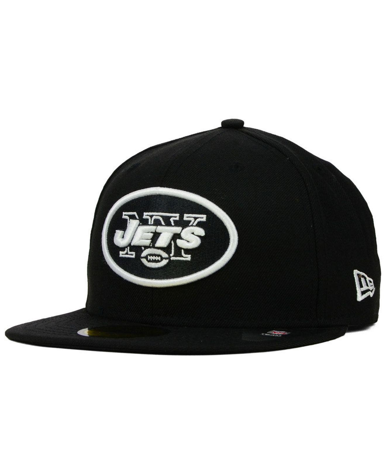 ... coupon code for ktz new york jets black and white 59fifty fitted cap  for men lyst ... f05ee8442