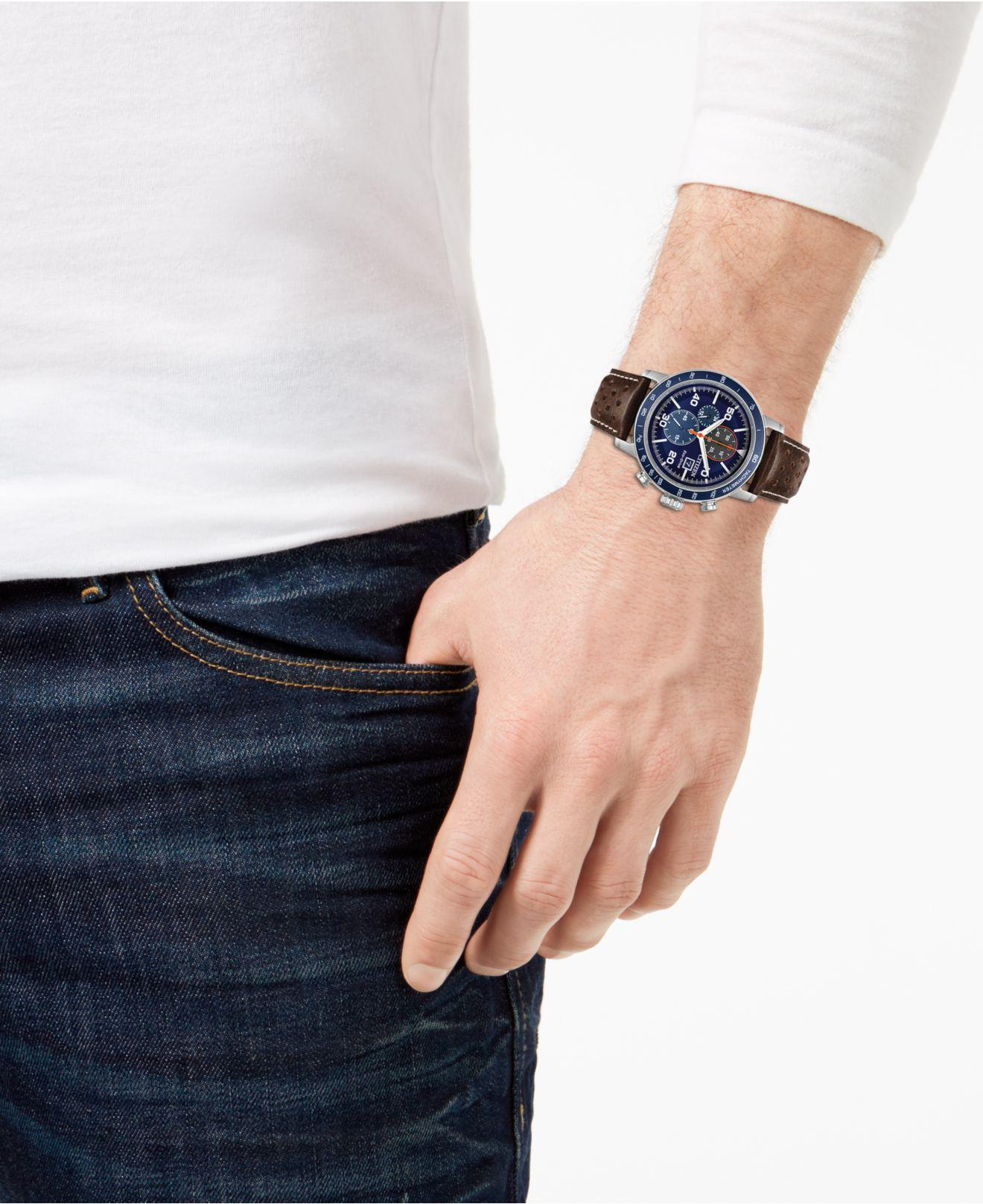 Men S Chronograph Brycen Chestnut Brown Leather Strap Watch 44mm
