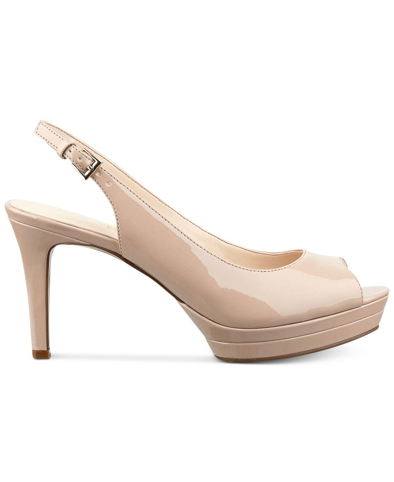 fbe0bff9033 Lyst - Nine West Able Mid-heel Pumps in Natural