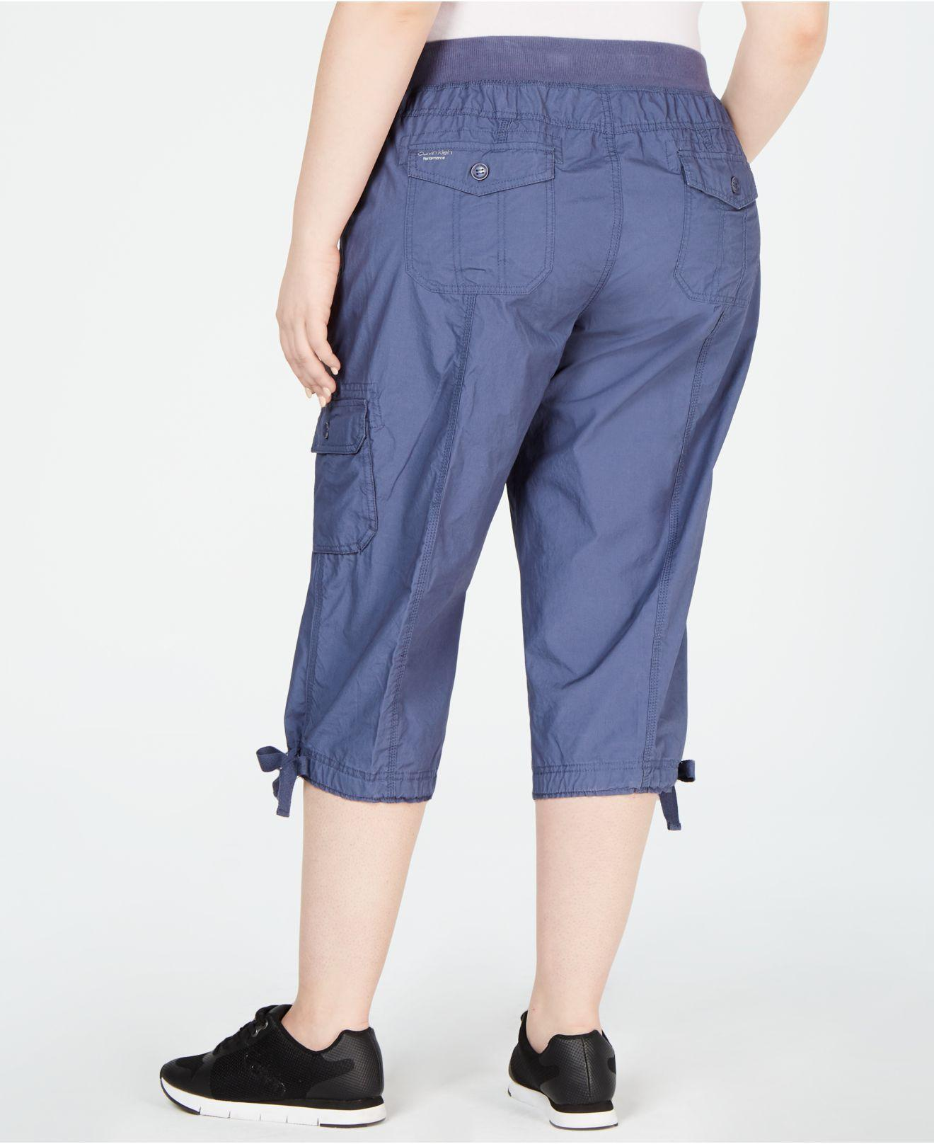 e67f1c57f37 Lyst - Calvin Klein Performance Plus Size Cropped Cargo Pants in Blue