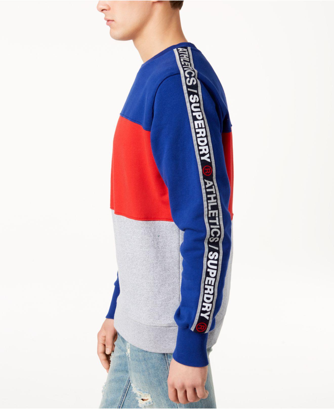Superdry Men/'s Stadium Cobalt Blue Colorblock Crew-Neck Pullover Sweatshirt