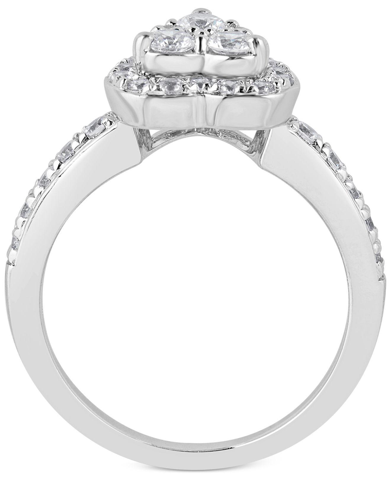 Macy s Diamond Heart Halo Bridal Set 1 1 4 Ct T w In 14k White