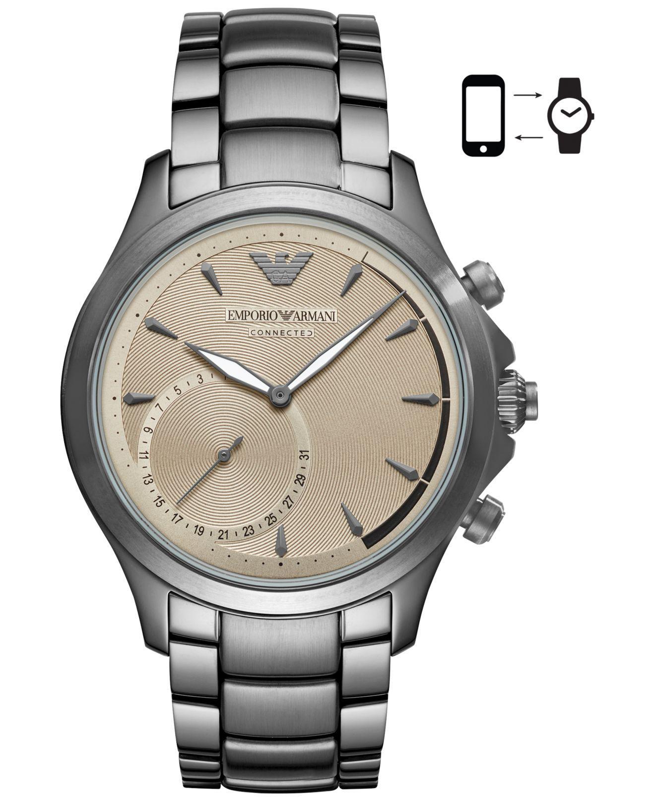 677d9a3d6f1b1 Emporio Armani Metallic Men's Connected Gray Stainless Steel Bracelet Hybrid  Smart Watch 43mm for men. View fullscreen