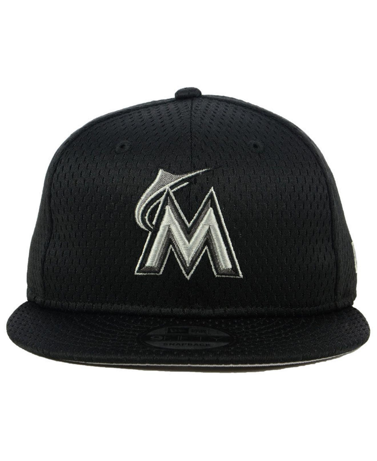 540ffae6cb7fe5 coupon for lyst ktz miami marlins batting practice mesh 9fifty snapback cap  in black for men