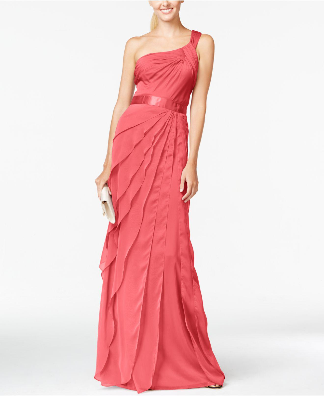 Lyst - Adrianna Papell One-Shoulder Tiered Chiffon Gown in Pink