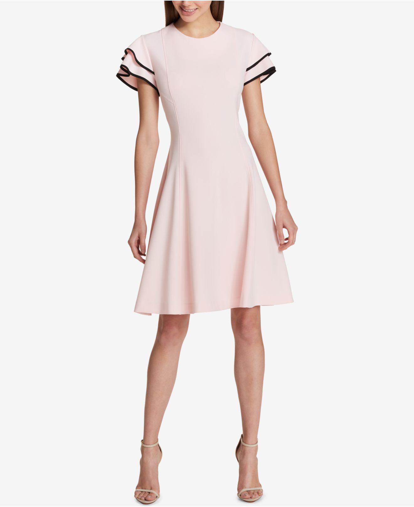 Tommy Hilfiger Womens Satin Back Crepe Flutter Sleeve Dress