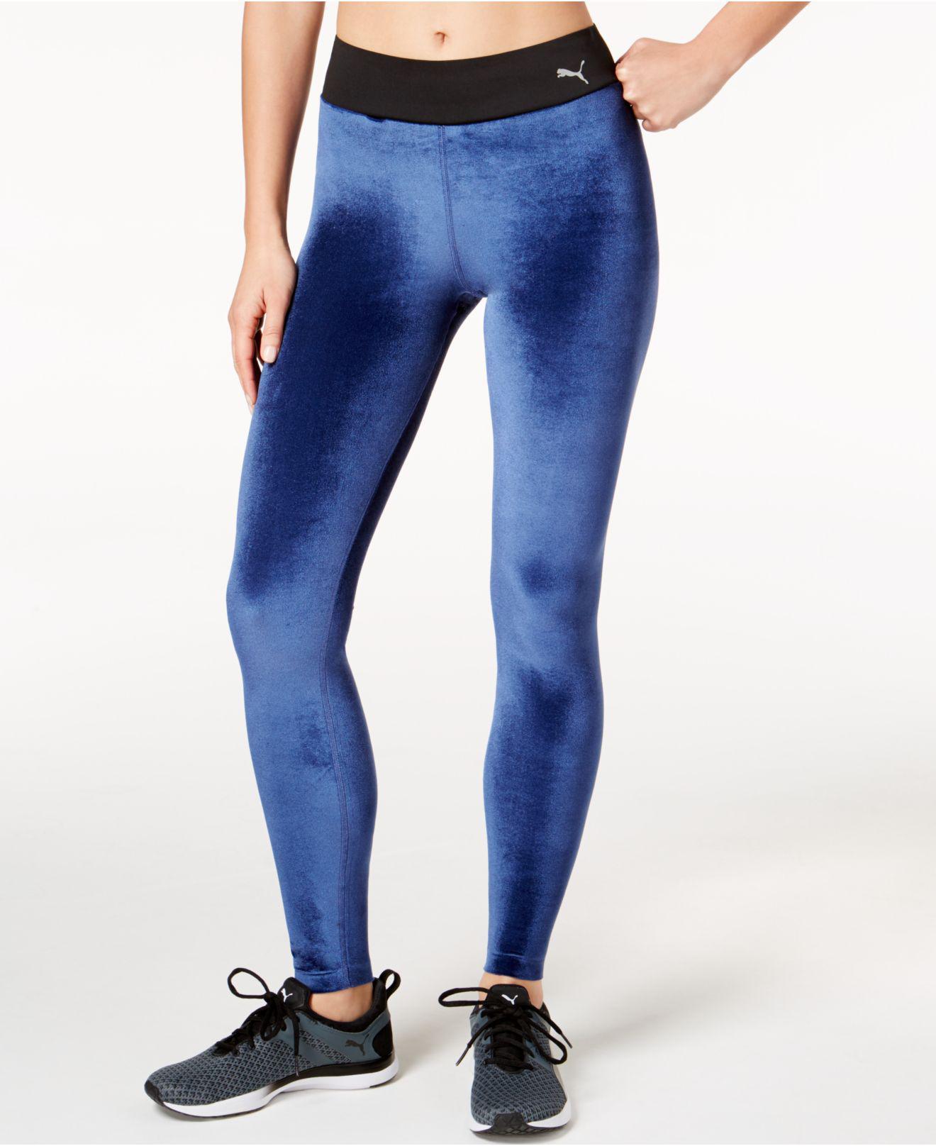 67a6c76e0a85fc Lyst - PUMA High-rise Velvet Leggings in Blue