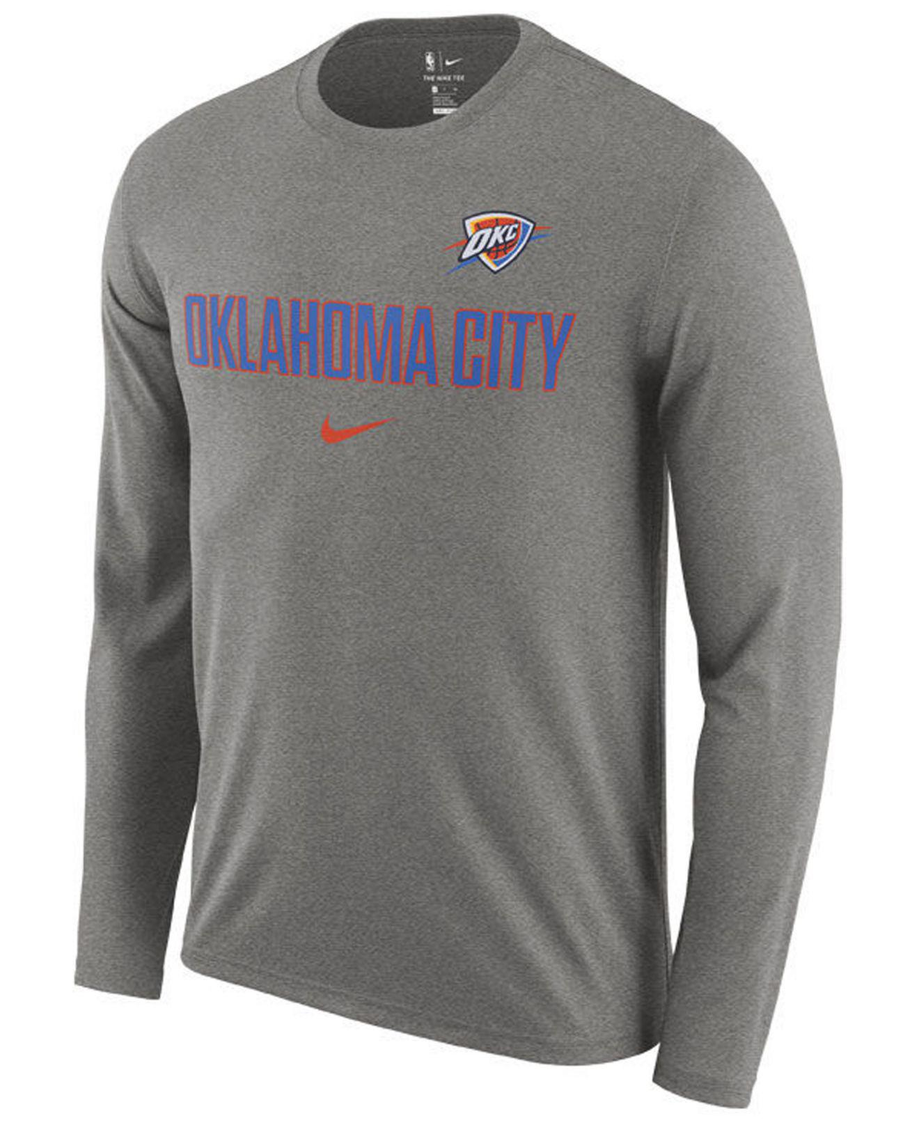 ddb3ad6e Nike. Men's Gray Oklahoma City Thunder Essential Facility Long Sleeve T- shirt