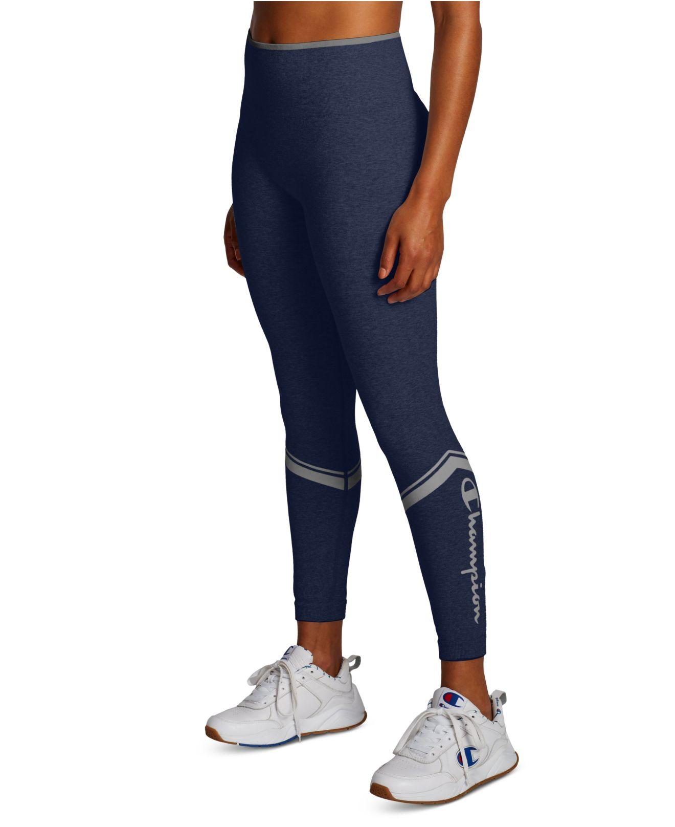 Champion Cotton Chevron Logo Leggings In Blue Lyst