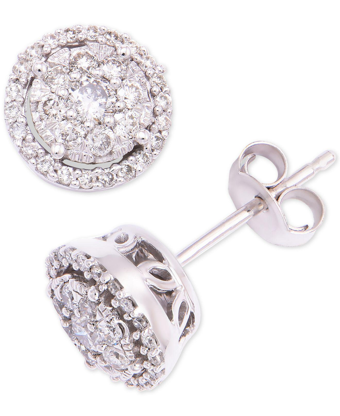 19a7a08c908 Macy s. Women s Diamond Round Cluster Halo Stud Earrings (1 2 Ct. T.w.) In 14k  White Gold