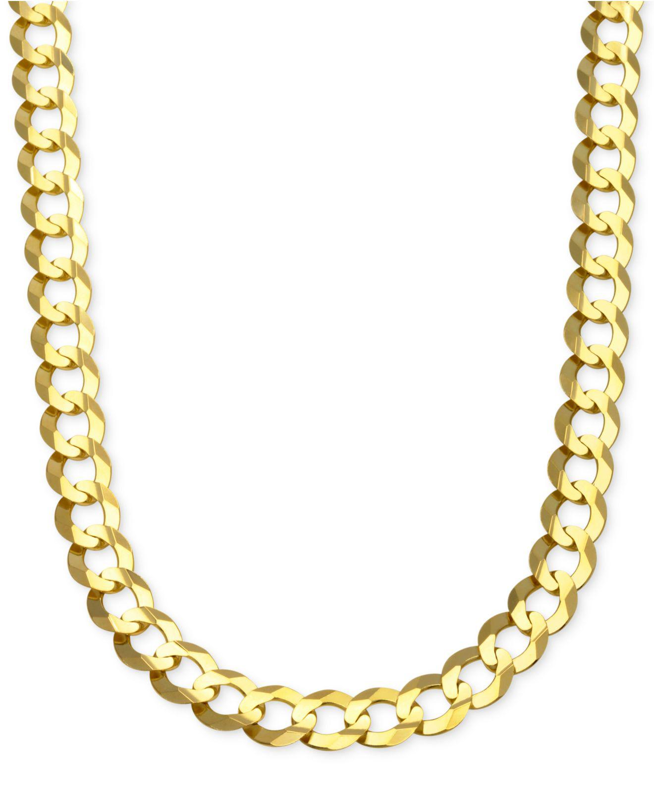 Lyst - Macy'S Cuban Chain Link Necklace In 10k Gold in ...