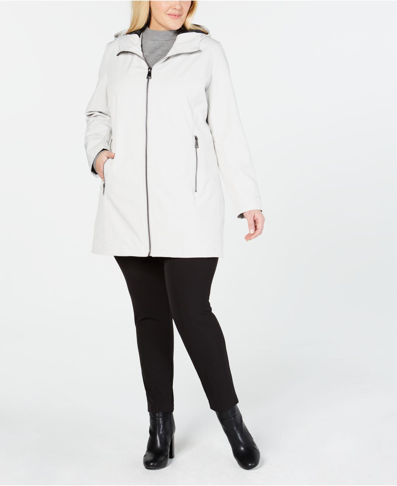 440a0e01806 Lyst - Calvin Klein Plus Size Hooded Raincoat in White
