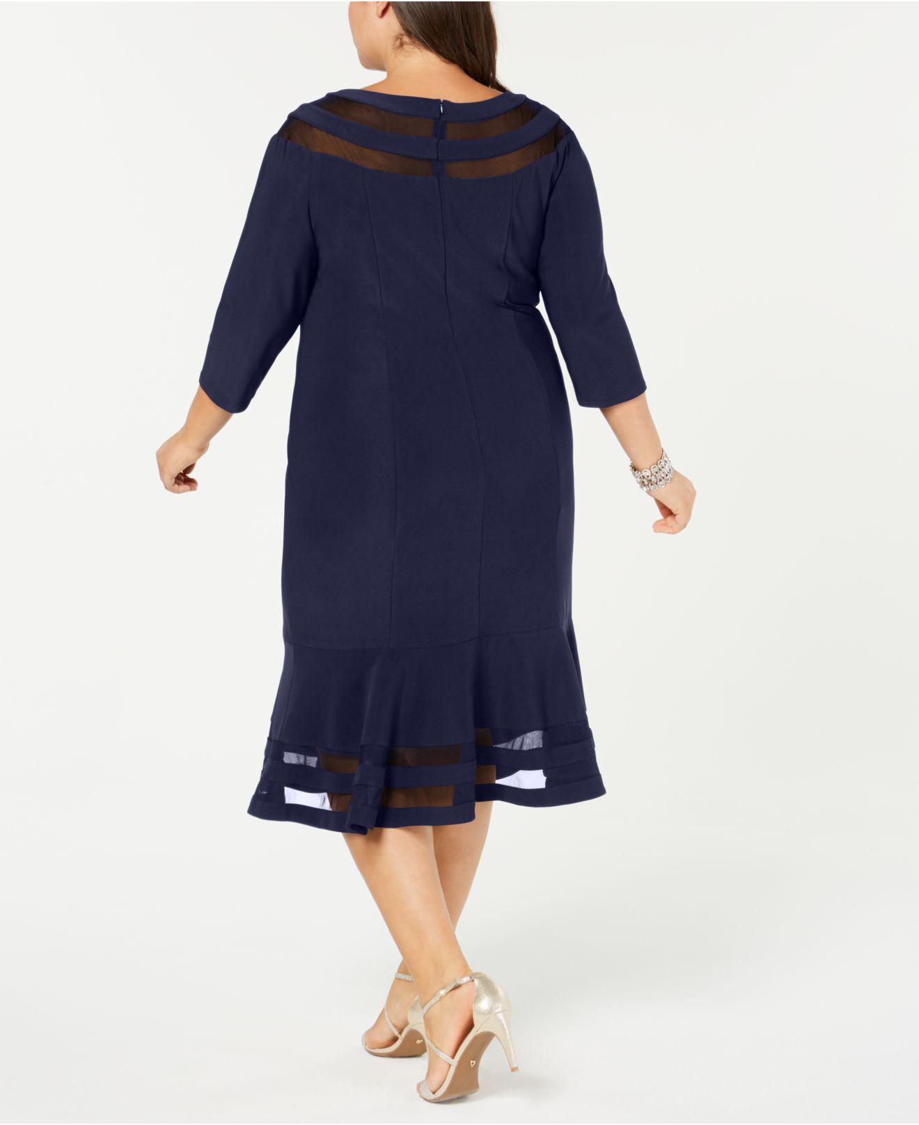 9c8804e9639 Lyst - Xscape Plus Size Illusion-inset Dress in Blue