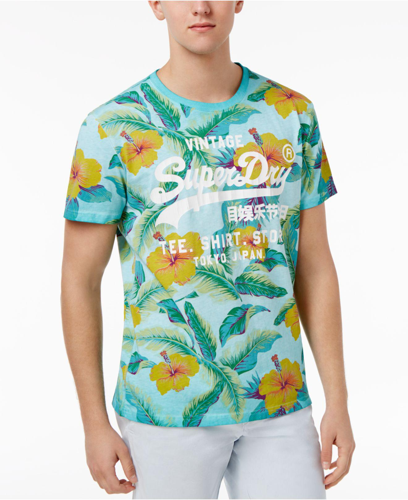 11dc3cd90 Superdry Surf Store Floral Graphic-print Logo Cotton T-shirt in Blue ...