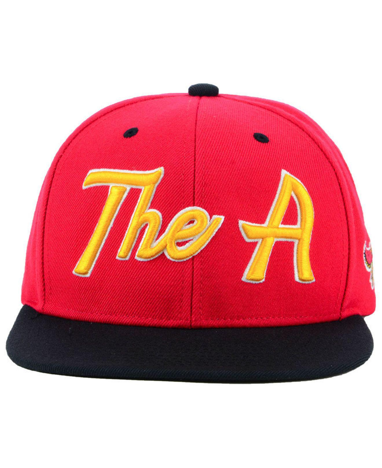 info for 6a5c6 29304 ... spain lyst mitchell ness atlanta hawks town snapback cap in red for men  6ea70 94fdd