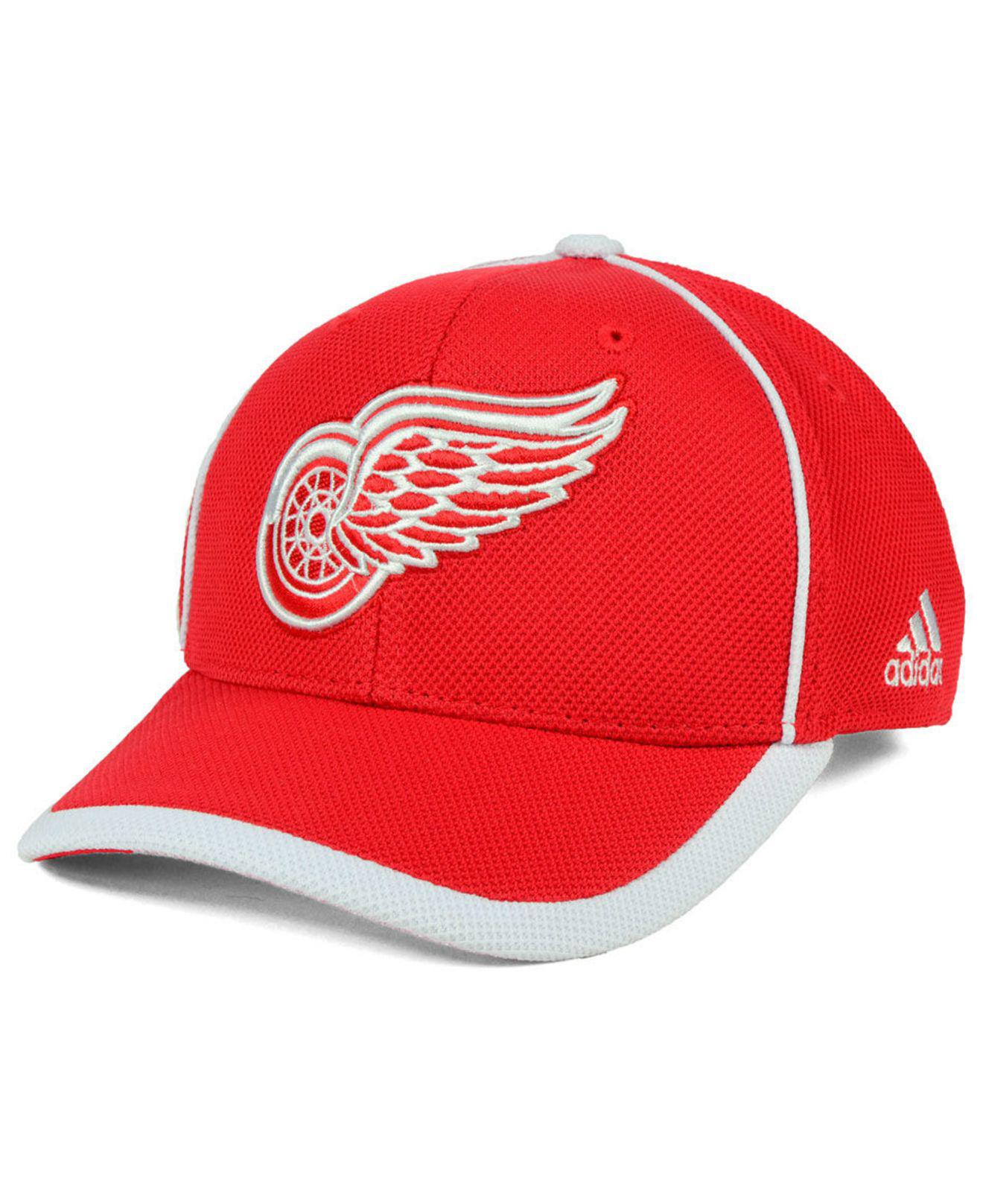 6da4a1e7371df Lyst - adidas Detroit Red Wings Clipper Adjustable Cap in Red for Men