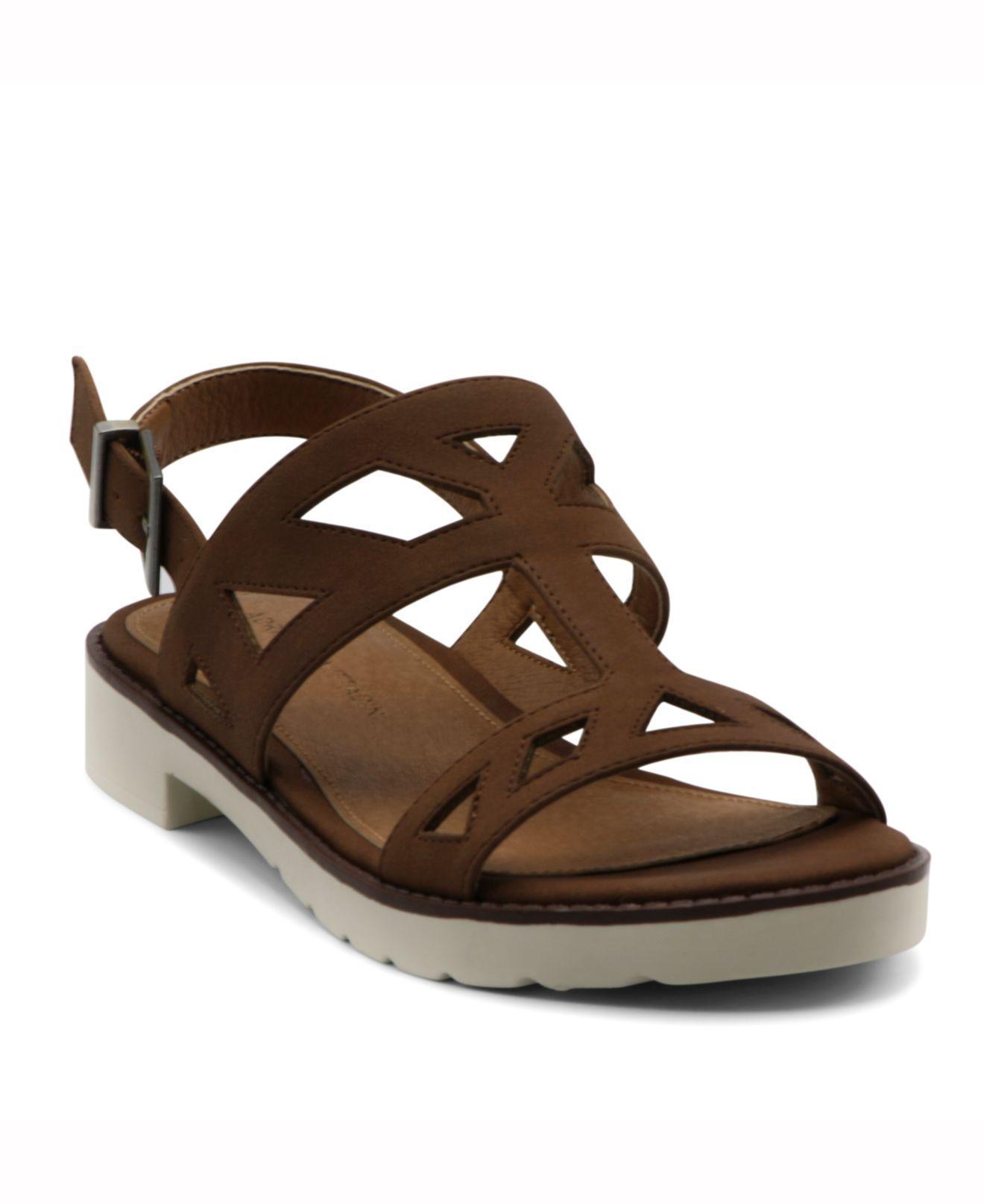 a29ec64c598c Lyst - Adrienne Vittadini Seka Strippy Flat Sandal in Brown
