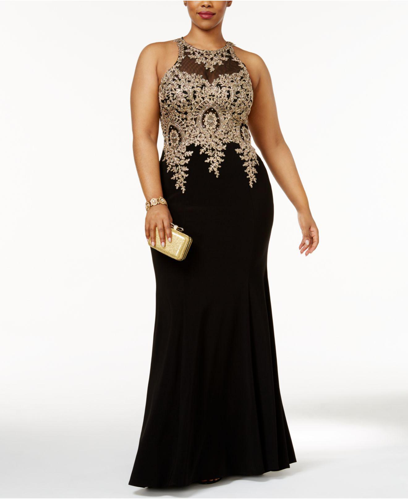 610725f2 Xscape Plus Size Embroidered Mesh Mermaid Gown in Black - Lyst