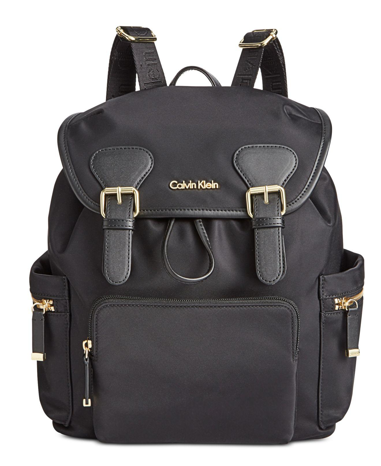 0c8768d063d7 Calvin Klein - Black Double Buckle Backpack - Lyst. View fullscreen