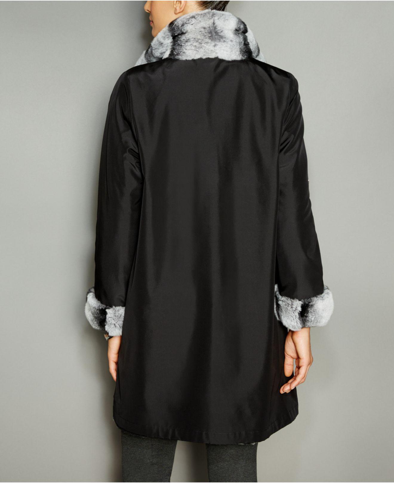 ded5bc356c9 Lyst - The Fur Vault Rabbit-fur-trim Silk Reversible Coat in Black