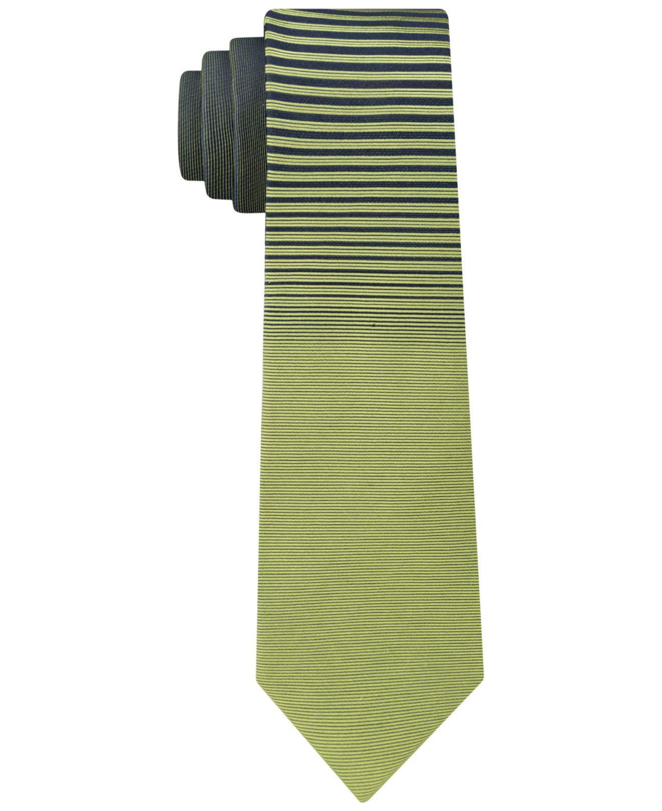 876e8faea0af Lyst - Calvin Klein Panel Skinny Silk Tie in Green for Men