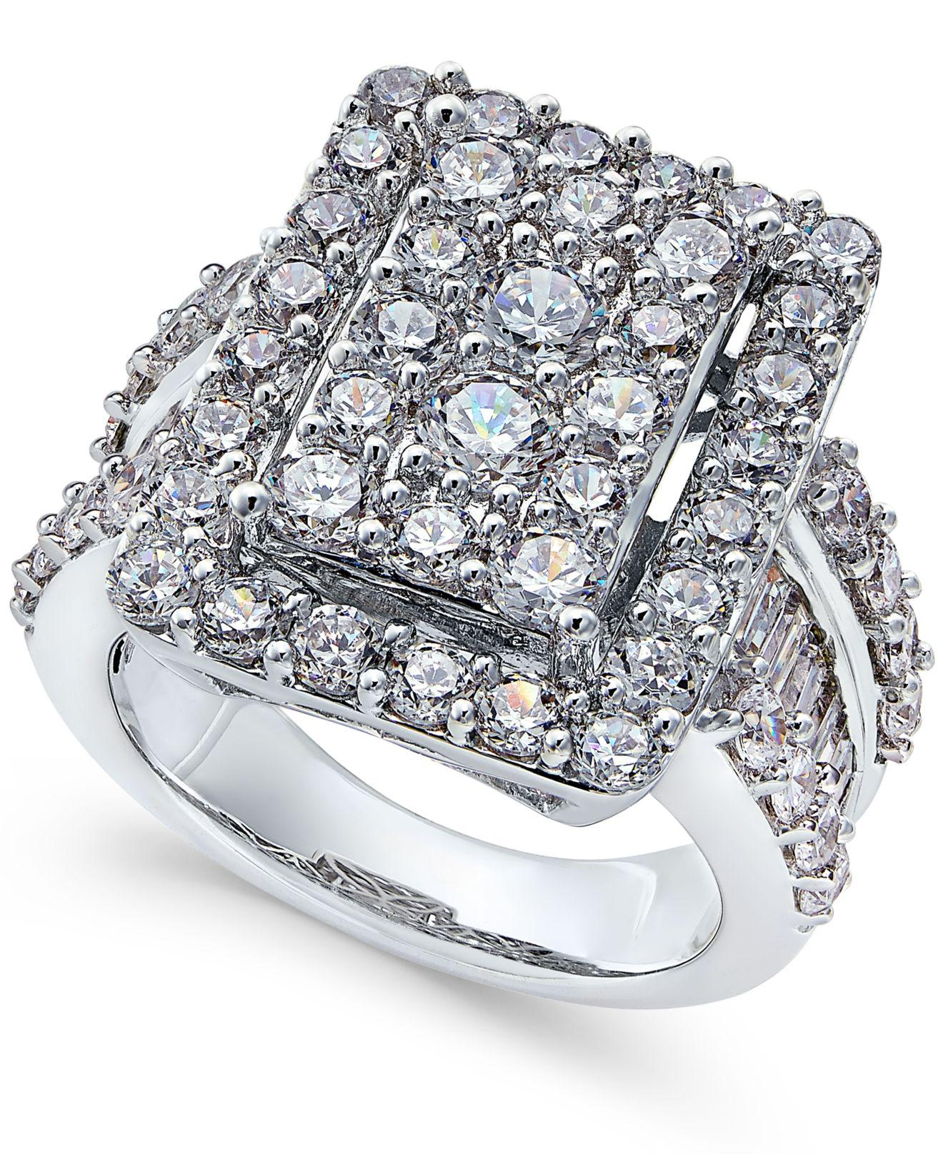 Macy's Diamond Square Cluster Engagement Ring (4 Ct. T..w