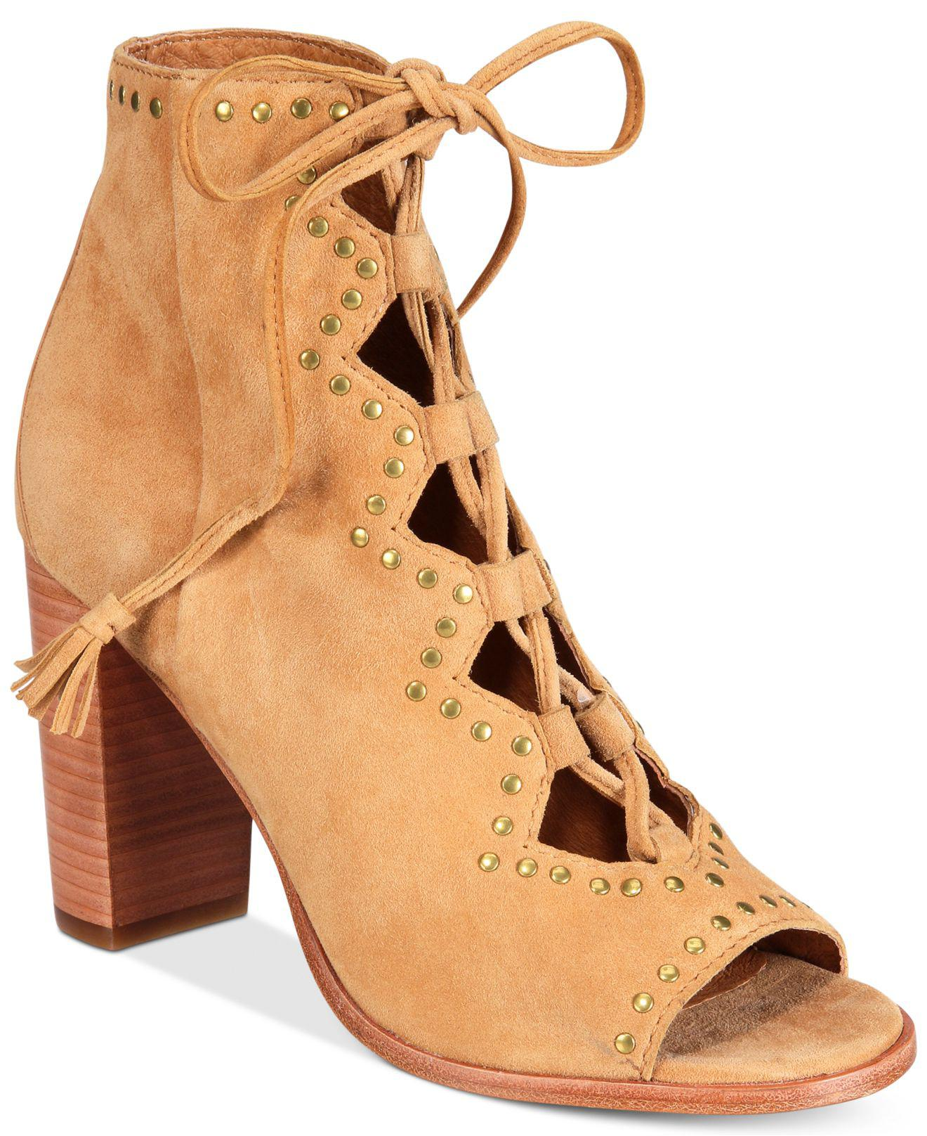 b1610ab512a Lyst - Frye Women s Gabby Ghillie Stud Booties in Natural