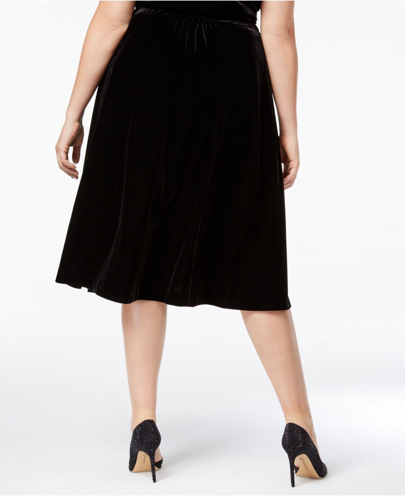 bb92297a5ee4e Lyst - Alex Evenings Plus Size Velvet A-line Skirt in Black