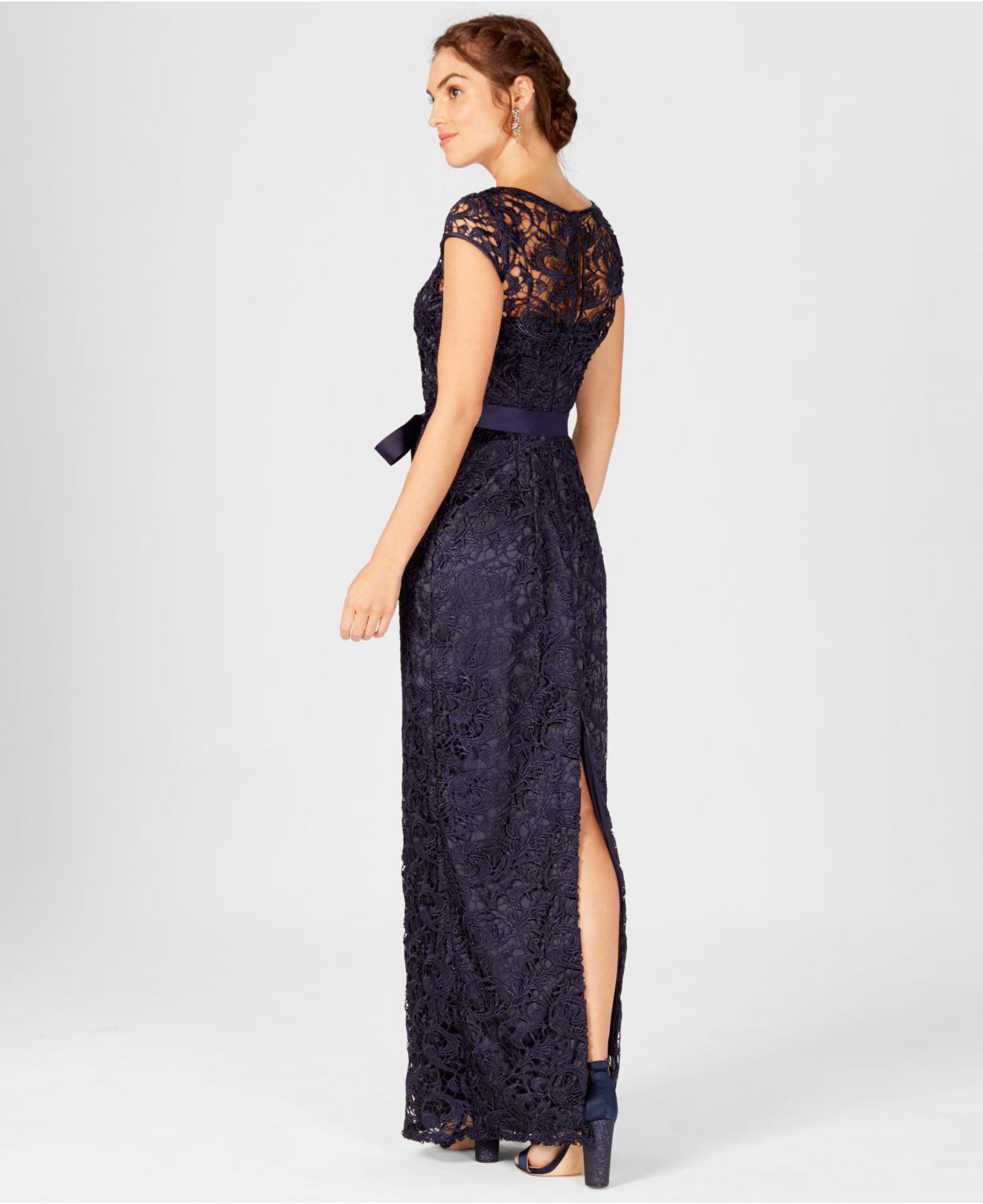 2748923ff8e2b Lyst - Adrianna Papell Cap-sleeve Illusion Lace Gown in Blue