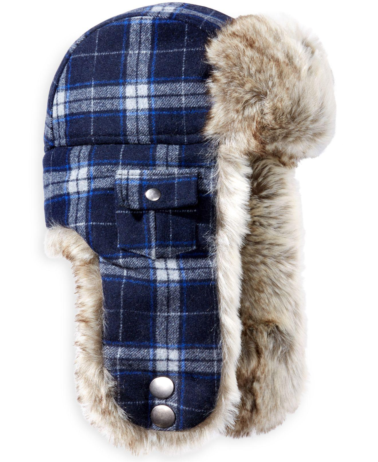 Lyst - Woolrich Plaid Arctic Trapper Hat With Faux-fur Earflaps in ... 3905fce6d24