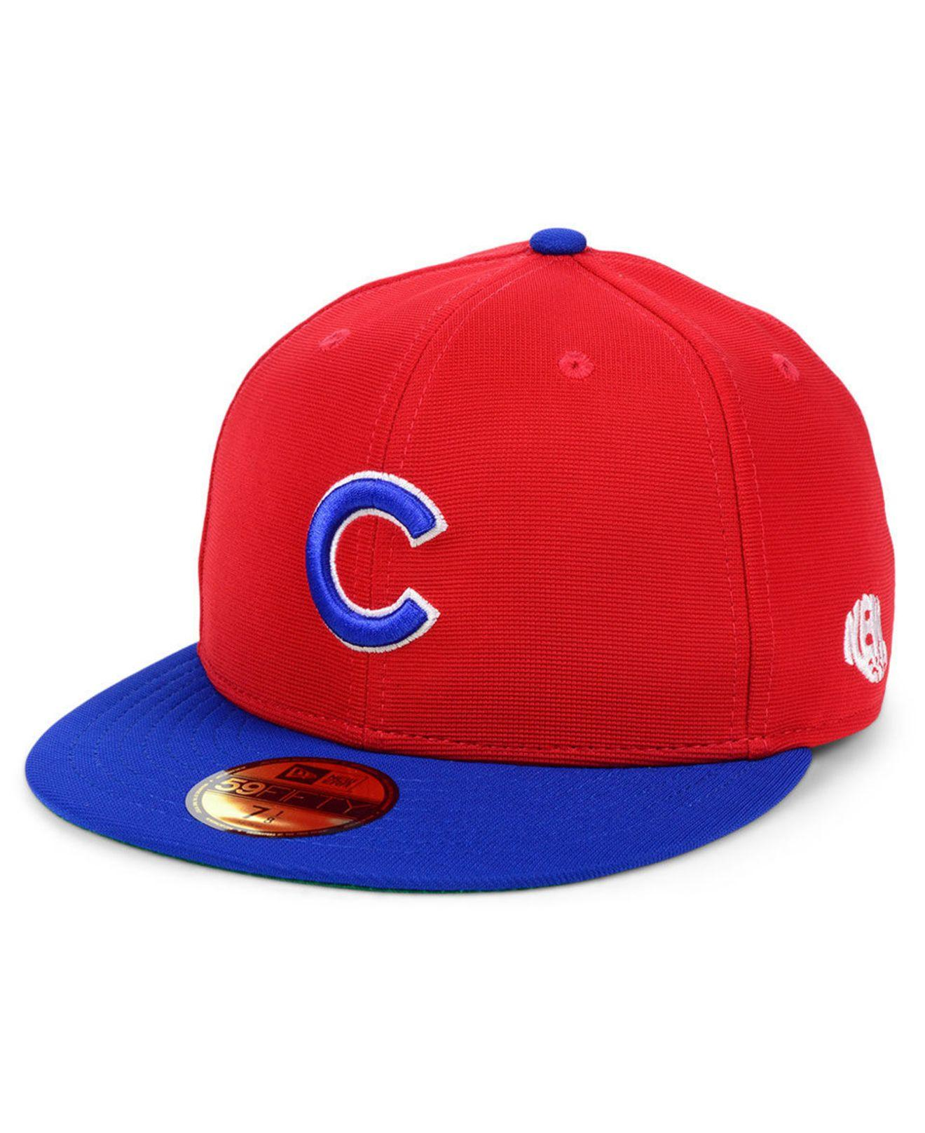 purchase cheap 449b0 f854a KTZ. Men s Red Chicago Cubs Cooperstown Flip 59fifty Fitted Cap