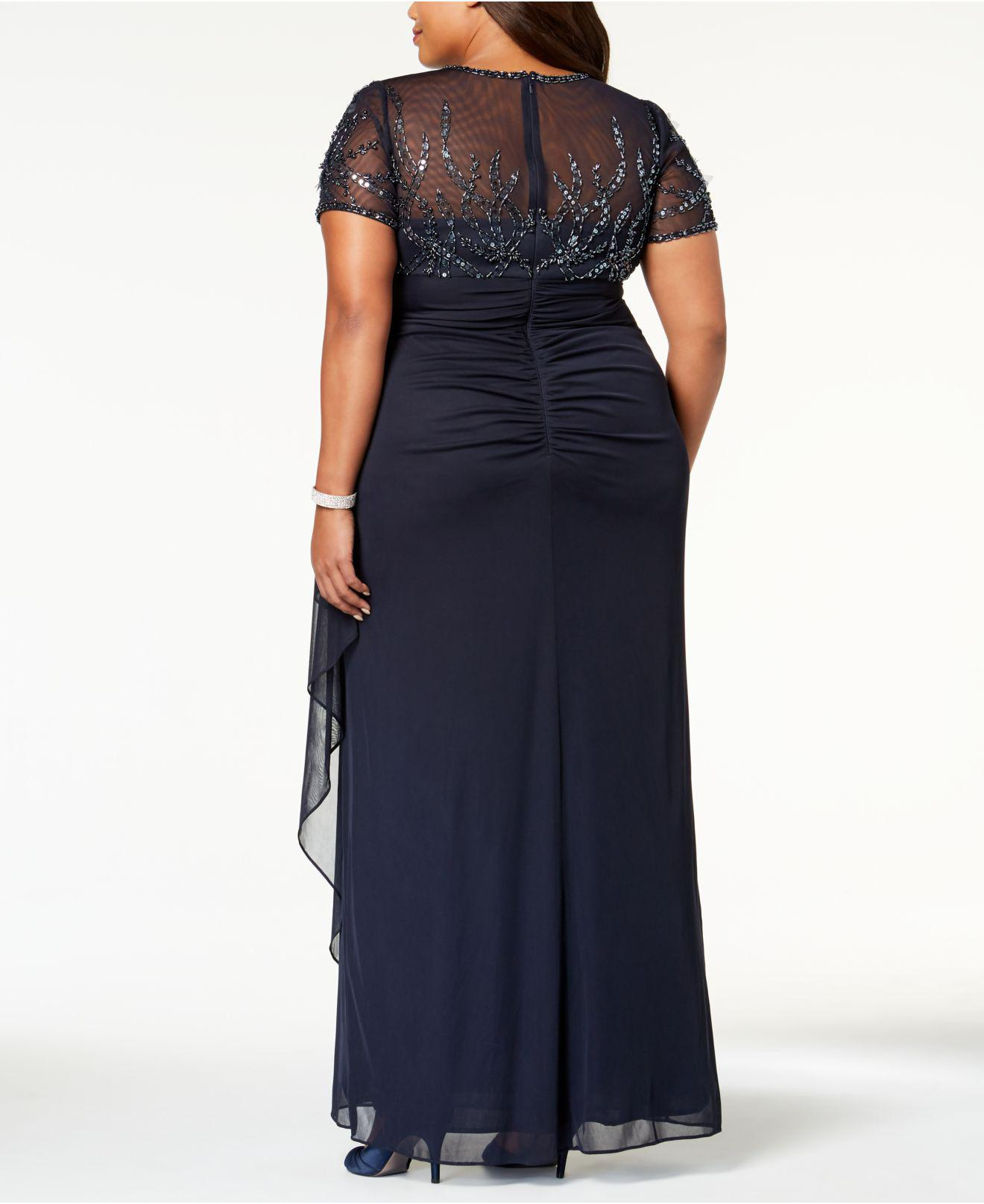 03e3f4619d9 Lyst - Xscape Plus Size Embellished Empire-waist Gown in Blue