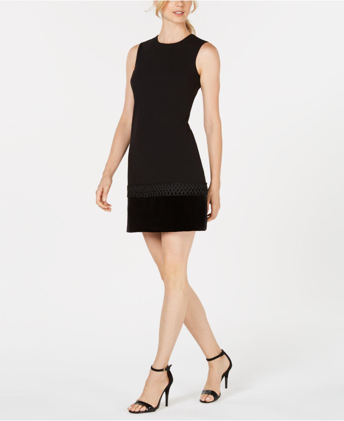 72091eec5397 Lyst - Calvin Klein Velvet-trim Shift Dress in Black