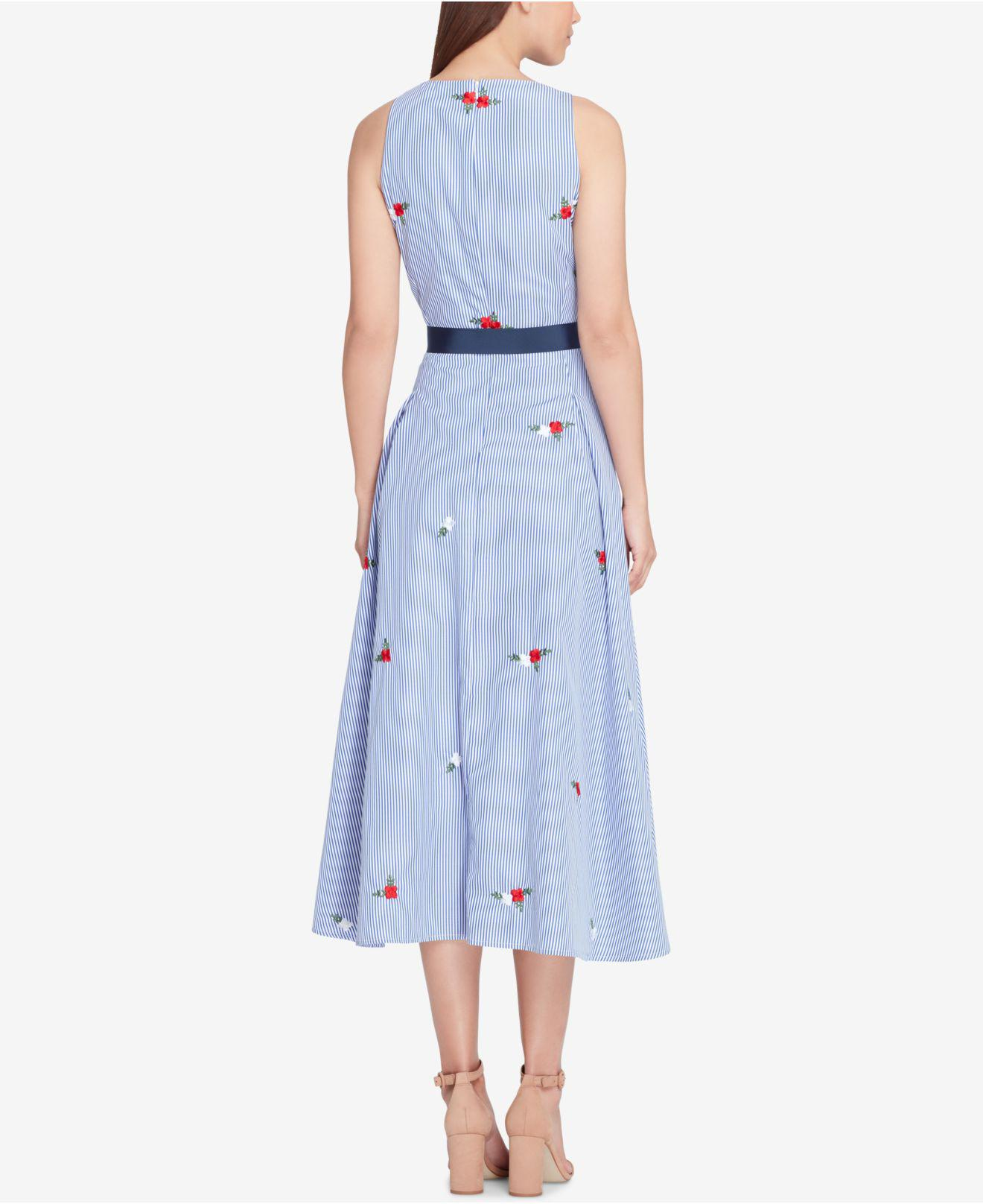 Tahari Embroidered Fit Amp Flare Midi Dress In Blue Lyst