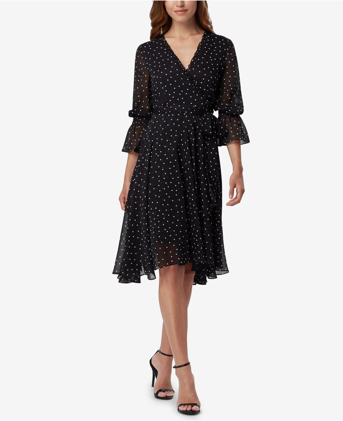 5e75aa226af Lyst - Tahari Asl Dot-print Faux-wrap Dress in Black