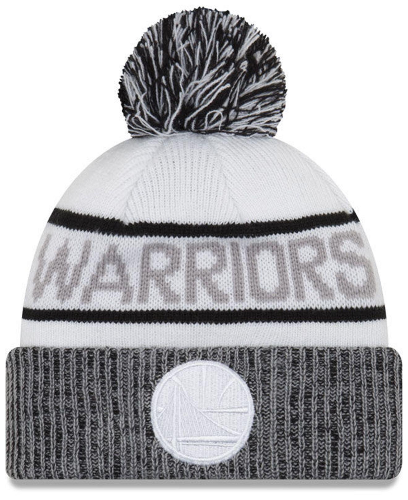 on sale 75cf9 740d7 KTZ Golden State Warriors Court Force Pom Knit Hat in White for Men ...