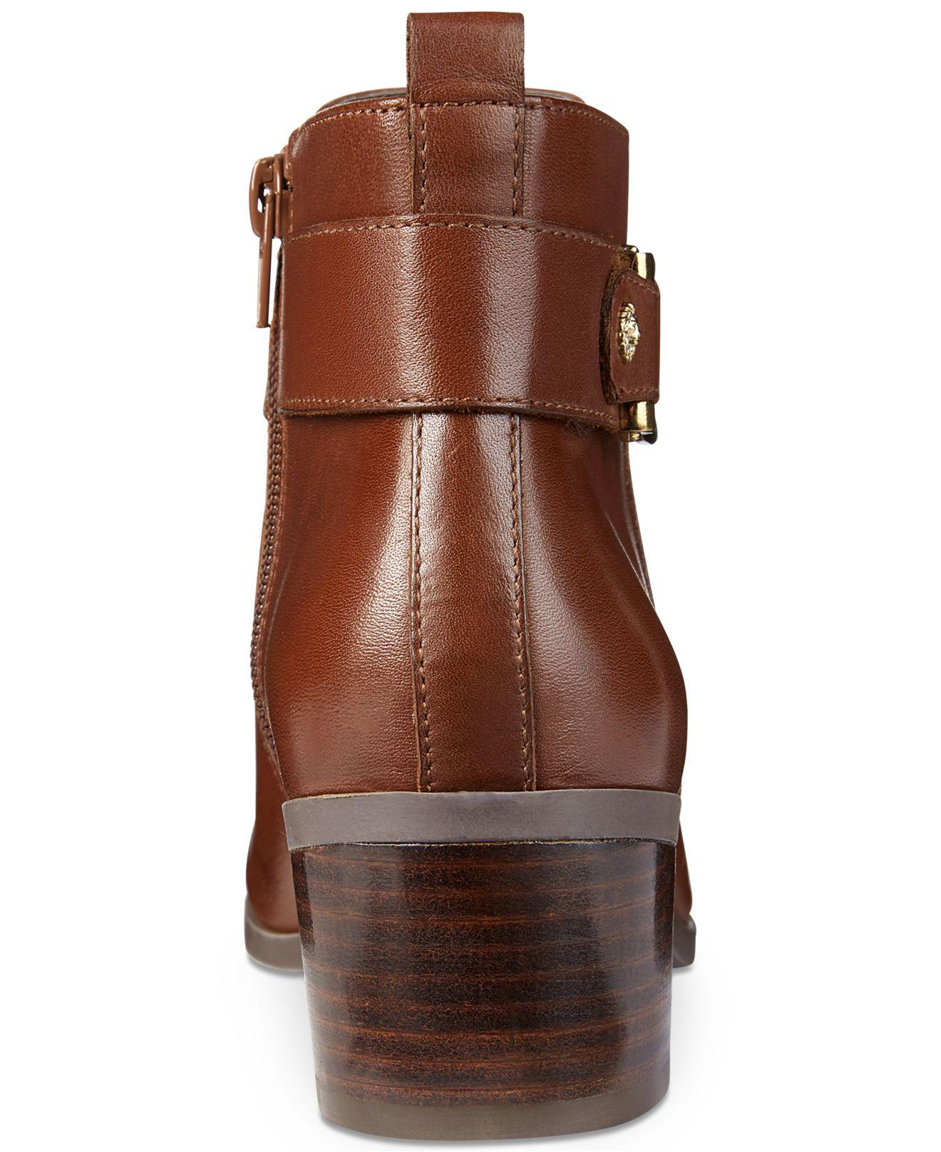 look out for good looking best authentic Anne Klein Leather Jeannie Ankle Booties in Dark Cognac (Brown) - Lyst