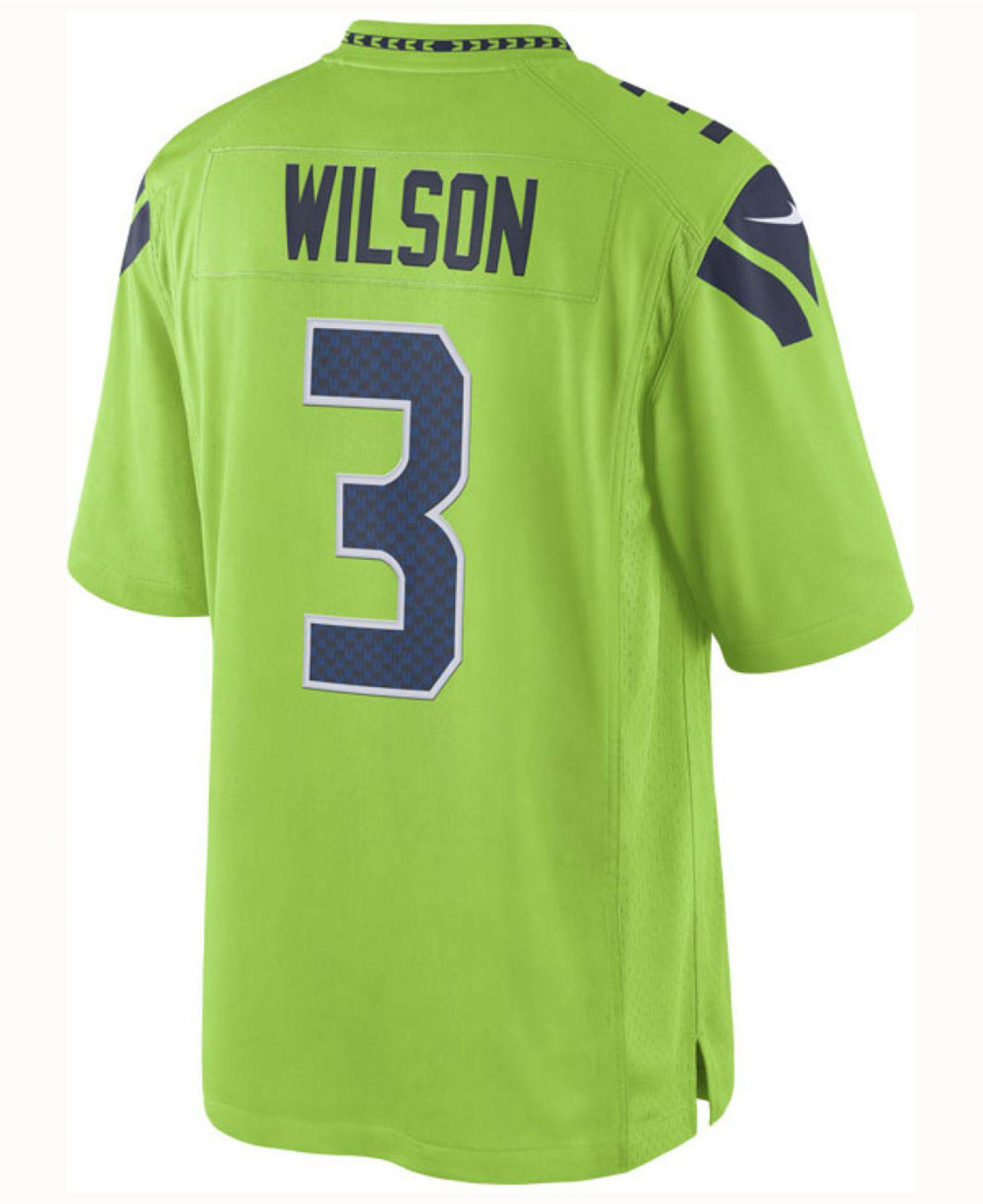 check out eebcc d193d Men's Green Russell Wilson Seattle Seahawks Limited Color Rush Jersey