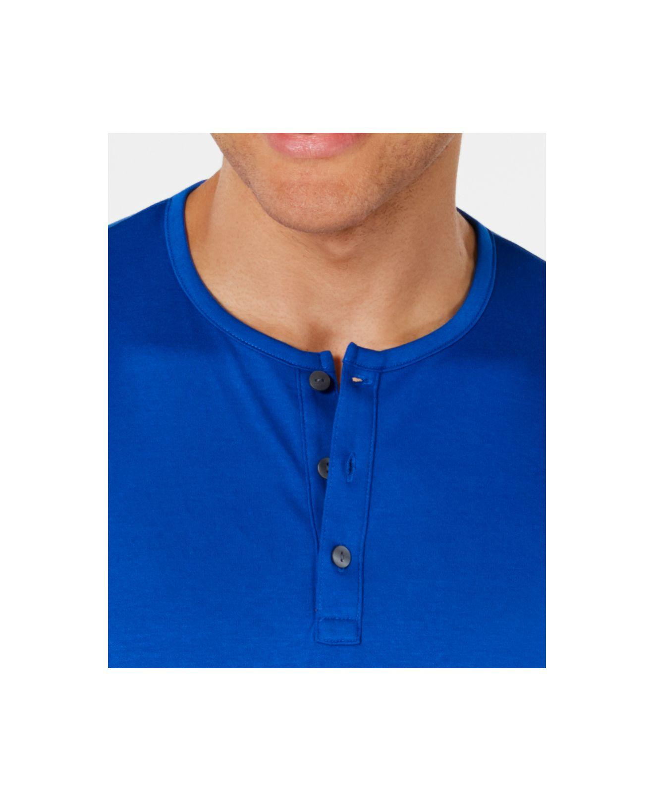 Alfani Mens Covered Placket Henley Shirt