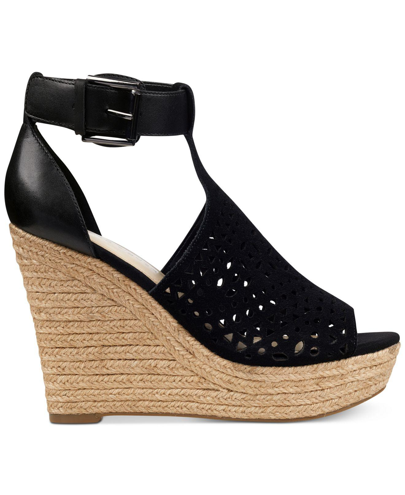 85ada5802248 Lyst - Marc Fisher Hasina T-strap Platform Wedge Sandals in Black